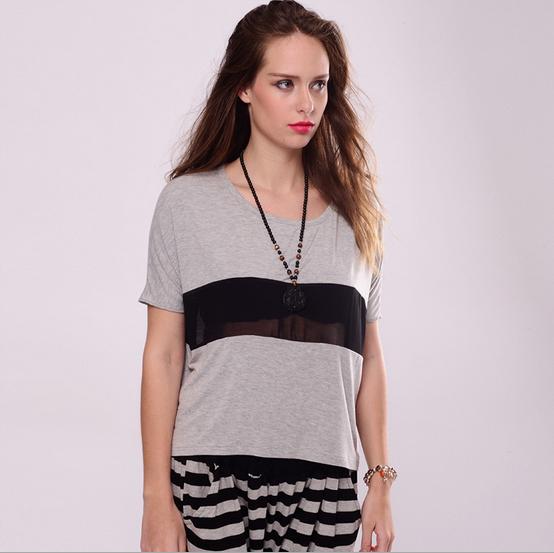 T Shirt Women tees women type T-shirts Short Sleeve modal female lace shorts girl fashion sheer see clothing