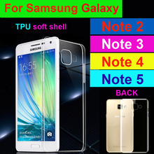 For SAMUNG Galaxy Note 2/Note 3/Note 4/Note 5 TPU Case Slim Crystal Back Protect Skin Rubber Phone Cover Fundas Silicone Gel(China (Mainland))