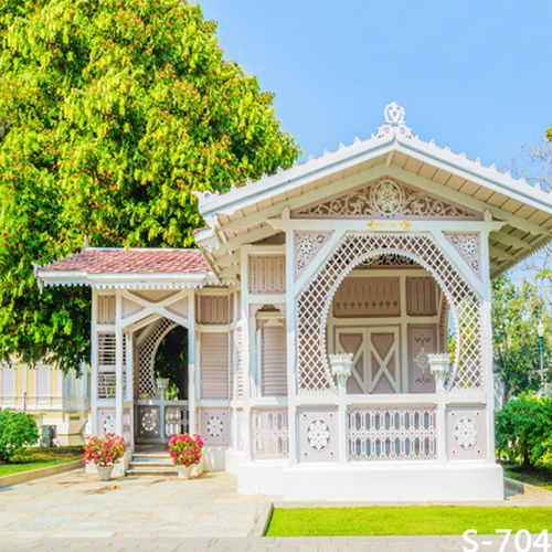 10x10ft green trees garden wooden pavilion booth grass for Wooden studios for gardens