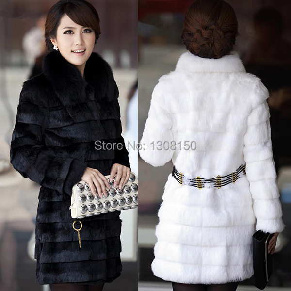 Winter Warm Womens Fur Coat Belt Long Jacket Rabbit Collar Snow Overcoat