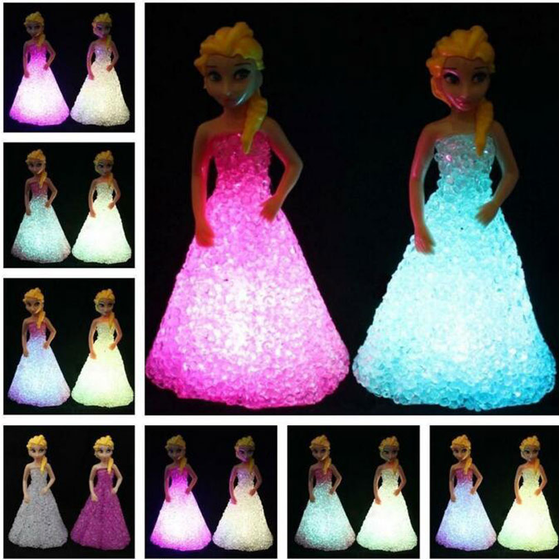 New Kids Toys Elsa / Anna LED Colorful Lights gradient crystal Night Light Led Lamp with battery toy christmas holiday gift(China (Mainland))