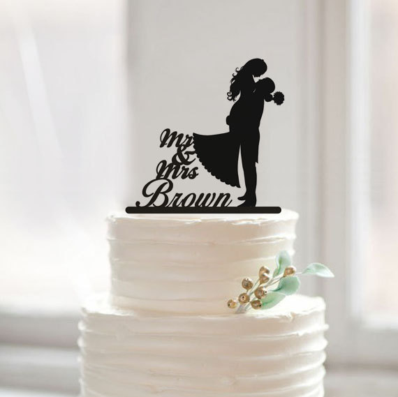 Wedding Cake Topper with Last Name Cake Topper,Mr and Mrs Cake Topper,Custom Silhouette Couple Cake Topper for Decoration(China (Mainland))