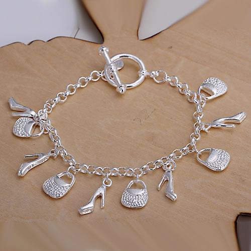 H108 ! 925 silver bracelet fashion jewelry charm Shoes Bag Pendant Bracelet  -  fengqin gong's store store