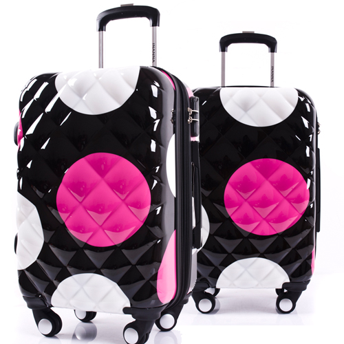 """Girls Dot Pattern Luggage&Women Travel Suitcase ABS + PC Universal Wheels Trolley Luggage Bag 20"""" 24"""" 28"""" inches Rolling Luggage(China (Mainland))"""