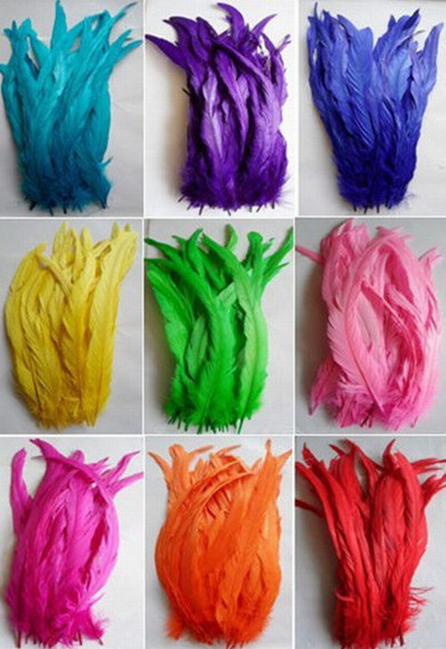 100pcs a lot mutiColor natural Rooster Tail feathers 14-16 inches/35-40cm natural feathers diy For Crafts(China (Mainland))