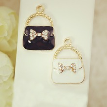 10pcs Fashion Jewelry floating charms Bow bags Gold Plated Zircon imitation Diamond charm Bracelet For Women DIY Accessories