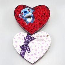 Feitas à mão baixo preço do quanlity elevado rosa e azul ponto brinquedos de pelúcia com sabão flores ponto bouquet Dos Namorados criativo presentes(China)
