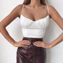 BOOFEENAA Ruched Backless zasznurować biały Sexy krótki top lato 2019 Spaghetti pasek kobiet kamizelki i podkoszulki C76-I84(China)