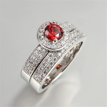 Ruby CZ Diamond Ring Sets Wedding Ring 925 Silver Ring Accessory For Women Vintage Bijoux Bague Fashion Jewelry MSR091