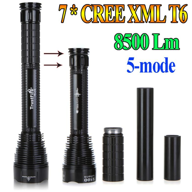 High Power Trustfire TR-J18 Flashlight 5 Mode 8500 Lumens 7 X CREE XM-L T6 LED power by 18650 or 26650 Battery Waterproof Torch(China (Mainland))