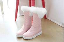 new winter warm snow boots fashion platform fur cotton shoes flat heels knee high boots women pu leather boots(China (Mainland))