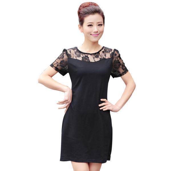 Buy hollow lace women modern dress big size m 4xl flower pattern lady