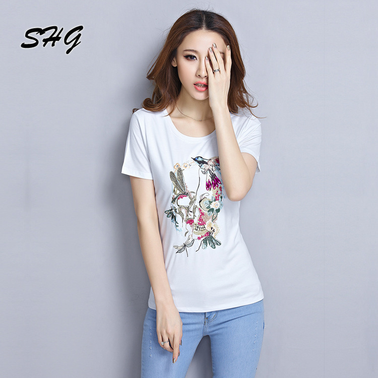 Wholesale korean 2015 embroidered cotton t shirt bottoming for Cheap embroidered t shirts