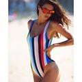 Bodysuit Sexy One Piece Rainbow Swimsuits Women 2017 Swimsuits High Cut Backless Swimwear Swimming Suit Monokini