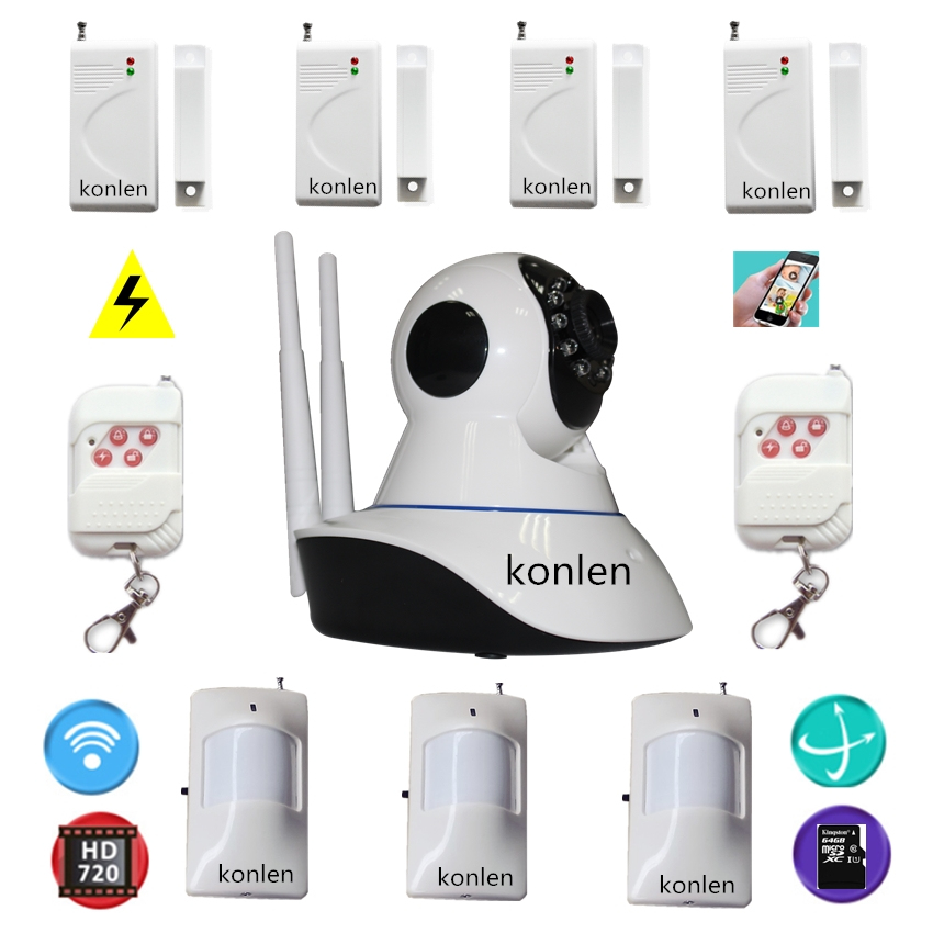 Wifi cctv hd ip camera intruder alarm home security system for House alarm with camera