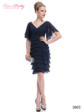 Party Dresses Sexy V-neck HE03903 Ever Pretty Butterfly Sleeve Ruffled Bottom Knee Length Party Dresses(China (Mainland))