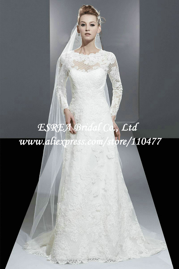 Buy modest high neck a line vintage lace for Modest a line wedding dresses