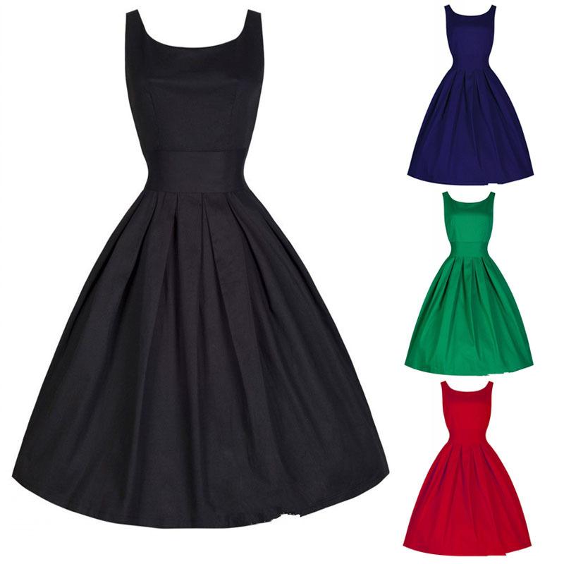 Summer Style Dresses Audrey Hepburn Vestidos Women Retro Red Party Club 1950s Dress Swing Rockabilly Vintage 50s - Yiwu KingSun Fashion Men's Apparel Co.,Ltd store