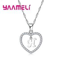 جديد وصول خطابات قلادة للنساء/الفتيات 925 Serling الفضة العصرية كريستال مجوهرات قلادة القلائد عالية الجودة(China)
