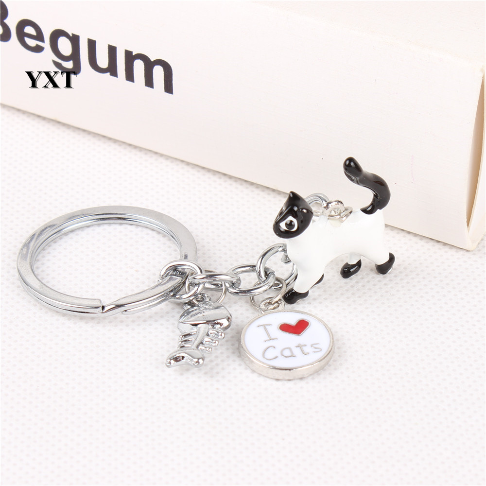 I Love white cats and Fish Bone Lovely Charm Pendant Silver Metal Car Key Ring Keychain New Birthday Gift Accessories(China (Mainland))