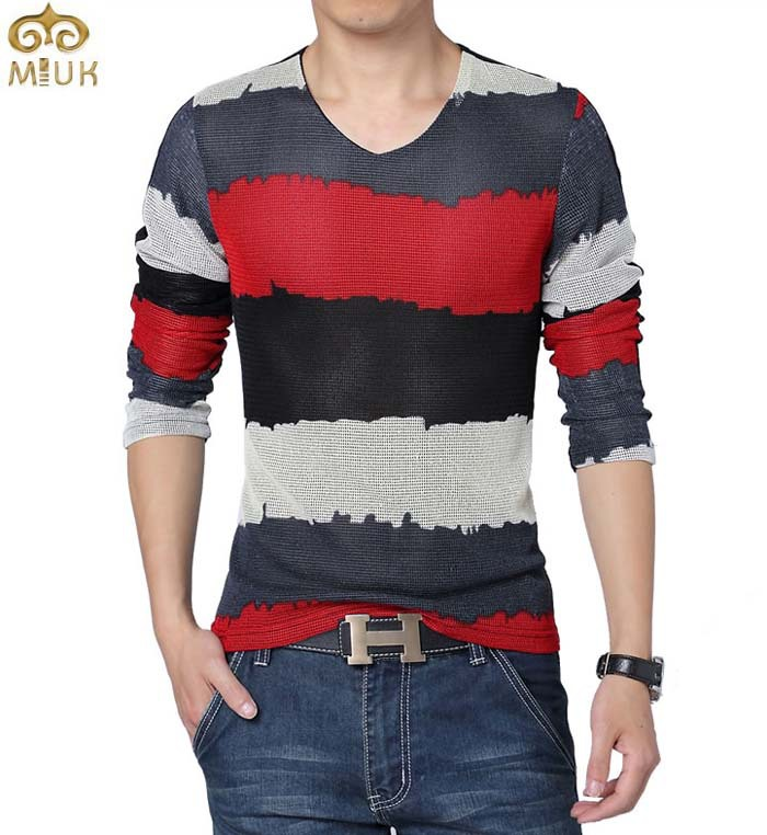 Large size sport t shirt men striped summer style 5xl for Large shirt neck size