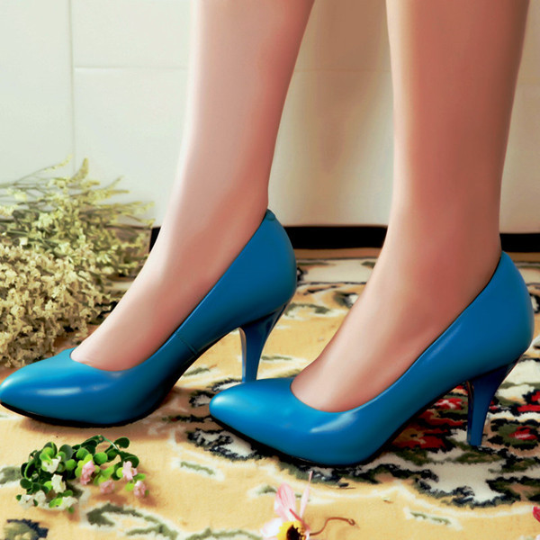 2015 new arrive thin heels high heels7cm women pumps pointed closed toe genuine leather dress mature ladies shoes grils
