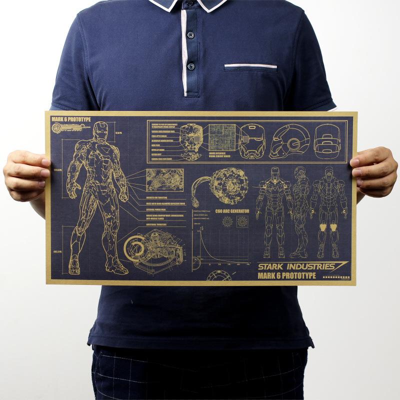 Iron Man design drawings retro retro kraft paper posters interior decoration painting heart(China (Mainland))