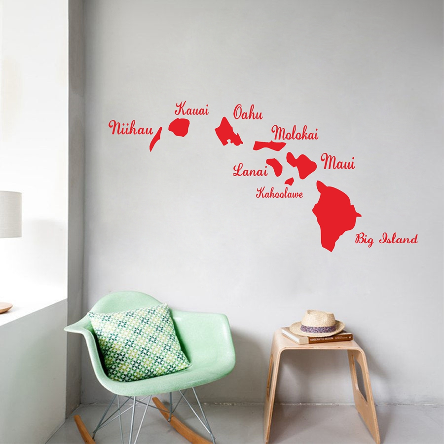 Amazing Hawaiian Islands Vinyl Wall Sticker Creative Hawaii Map Wall Decals For Home and Car Decoration