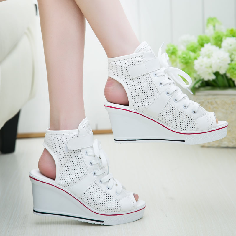 Fashion high-top shoes 2015 net waterproof heavy-bottomed sandals fish head high heels  wedges sneakers<br><br>Aliexpress