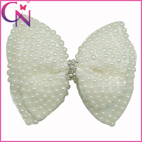 White Pearl Hair Bow Girls Boutique Hair Bows With Clip Rhinestone Hairpin Baby Pearl Hair Clip CNHBW-1411191(China (Mainland))