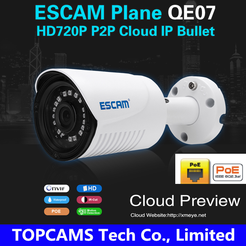 ESCAM Plane QE07 waterproof Outdoor POE ip camera Night Vision IR-Cut Support Alarm Security Network p2p colud ip bullet camera<br><br>Aliexpress
