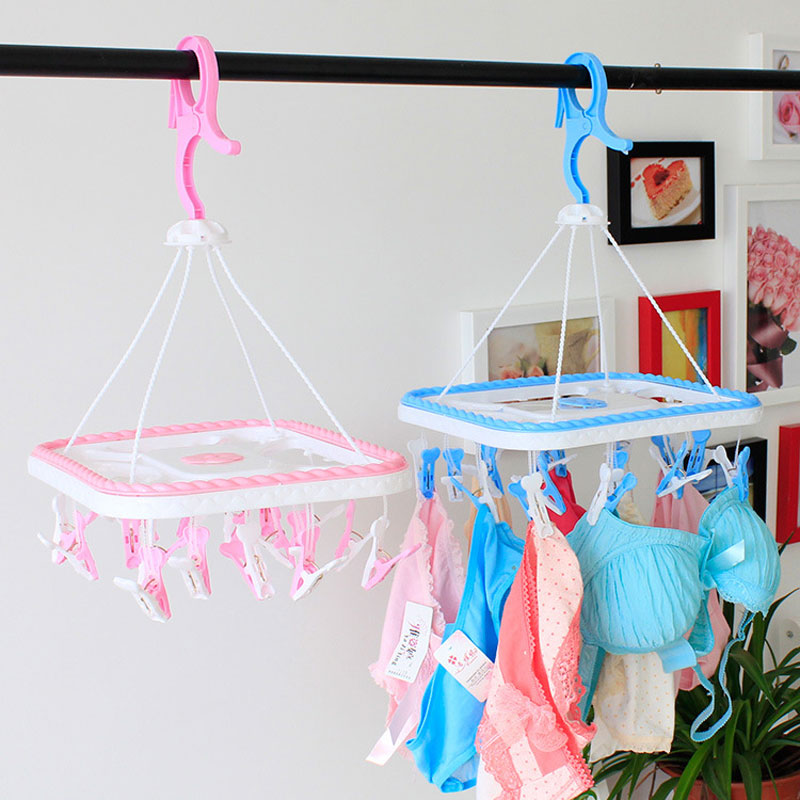 Free Shipping Plastic Wind Proof Clip Clothes Airer Hanging Socks Underwear Racks(China (Mainland))