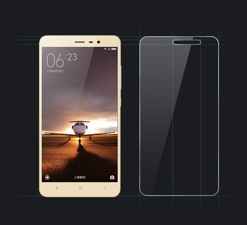 0.3mmFOR Xiaomi Redmi 3 Tempered Glass 5.0″Original FOR xiaomi redmi 3 glass 9H Hardness Explosion-proof Screen Protector Film