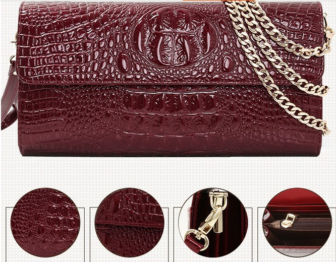 chains cowskin metal lady Bag crocodile pattern women messenger bags  women real leather handbags shoulder bags brand name bag