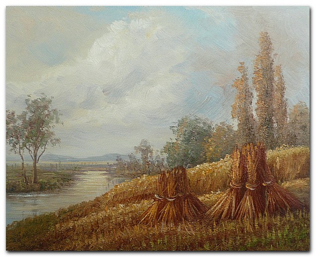 Hand Painted Impressionist Landscape Oil painting Harvest season No.2 Home Decoration Wall Art Free Shipping(China (Mainland))