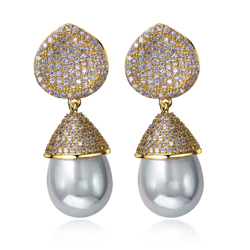 Women Drop Earrings gold plated with CZ stone and imitation pearl Vintage style fashion jewelry High quality Free shipment(China (Mainland))