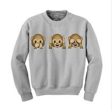 Vestidos Women Sweatshirt 3D emoji Monkey Printed Crew Neck Casual Pullover Jumper Coat Tops Blouse