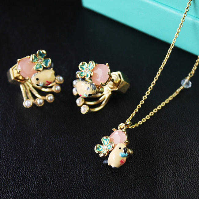 famous brand jewelry party The French L enamel glaze little birds A clover set synthetic stones earrings necklace set<br><br>Aliexpress