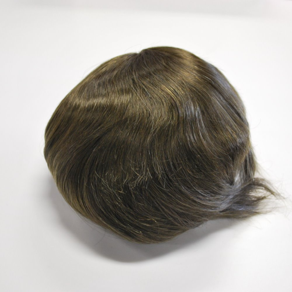 dark brown 3# mens toupee hair system Swiss lace 100% top quality remy real hair(China (Mainland))