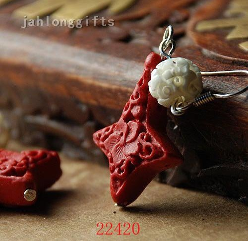 Ethnic Carved Red Lacquer Cross + Carved Ox Beon Ear Pendant Ear Dangler Charm Jewelry 40pairs Mixed Lot Free Shipping