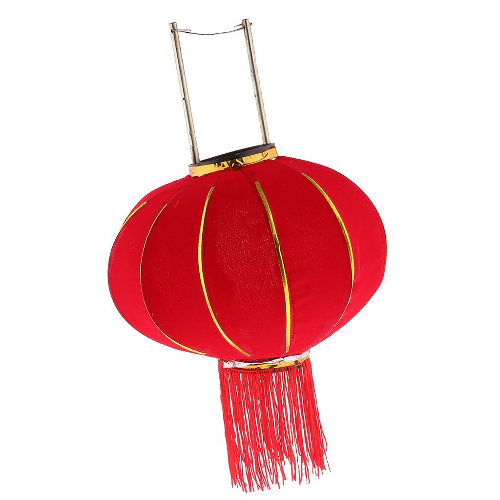 Chinese Flocking Red Lantern Fortune Wealth Spring Festive Balcony Gate Hanging Decor