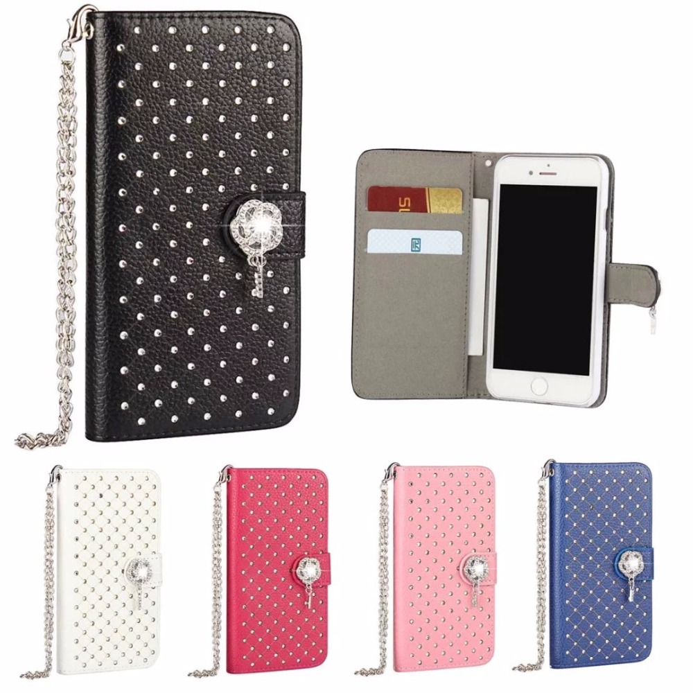 For iPhone 5S 6 6S 7 7Plus Luxury Durable Genuine Leather Diamonds All over the sky star purse holster Case Covers Phone Bags(China (Mainland))
