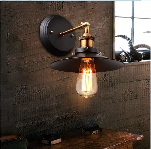 110-220v Retro vintage Industrial Edison Simplicity 1 Light Wall Mount Light Sconces Aged Steel Finished Antique lamp(China (Mainland))