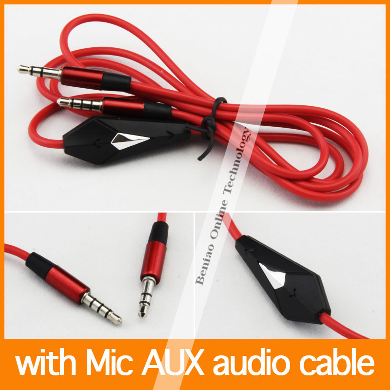 100pcs 3.5mm male to 3.5mm male with MIC audio Car Aux Extension Cable aux for mp3 for phone(China (Mainland))