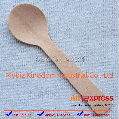 100x Disposable Wooden Baby Spoon Grade A 10cm Flatware Cutlery Camping Party Cake Decoation Wedding Baby Shower Picnic Catering(China (Mainland))