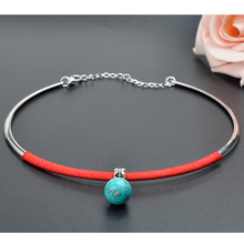 DIY Ethnic Jewelry national vintage bohemian turquoise choker necklace,fashion handmade Red line Torques necklace F60*SS0323W#M1(China (Mainland))