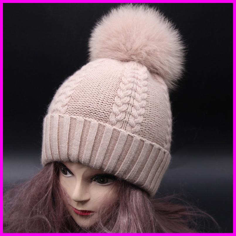 Winter Warm Fur Hat Cashmere Wool Knitted Female Beanie Hat Big Fox Fur Pom Pom Hats For Women(China (Mainland))