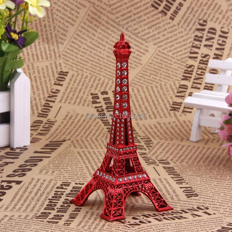13CM Red Painted Paris Eiffel Tower Figurine With Rhinestone(China (Mainland))