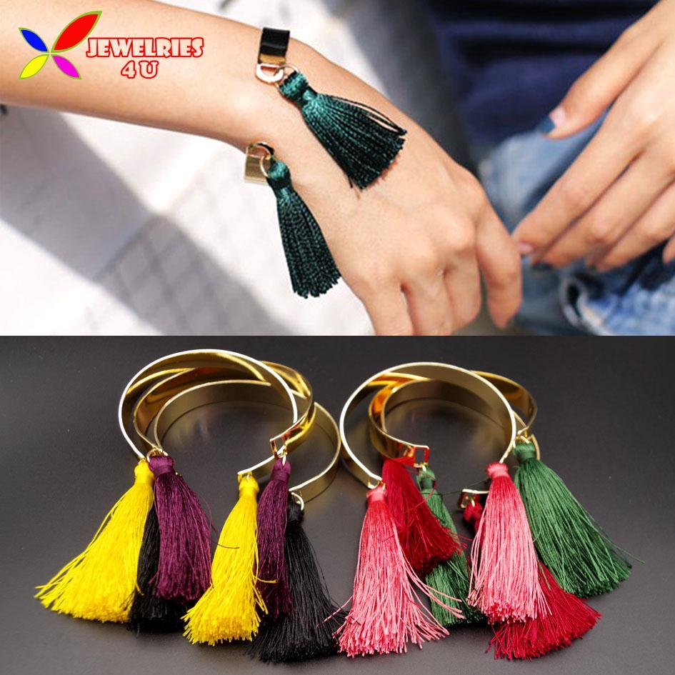 New Arrival Hot Goden Cuff Bangles Fashion Designer Multi-color Tassel Charm Bracelets for Women pulseiras de couro(China (Mainland))