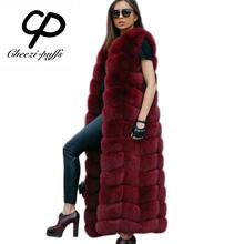 CP Brand About 120cm Super Long Fur Vest Winter Women Luxury Faux Fox Fur Vest Furry Slim Woman Fake Fur Vest Plus Size Faux Fur(China (Mainland))